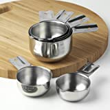 KitchenMade Stainless Steel Measuring Cups - Set of 6 - Best Quality 18/8 Polished SS - Great Design Made to Nest One Piece Inside the Other - Compact Stackable Cups - Perfect for Home Cooking and Baking - Sturdy Enough for Commercial Kitchens - USA Standard Cup Sizes - No Hassle Lifetime Guarantee