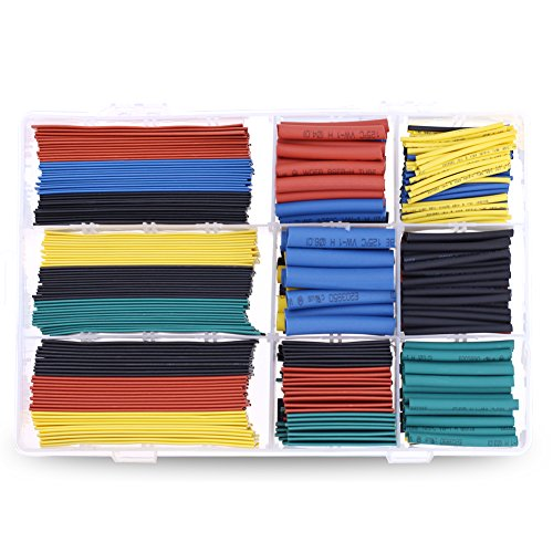 New Hilitchi 504pcs Assorted Heat Shrink Tube 5 Colors 9 Sizes Tubing Wrap Sleeve Set Combo