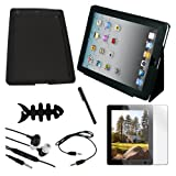 Premium Black Leather Case + Black Skin Case + Clear Screen Protector + Stylus Pen + 3.5mm Audio Cable + Earphone w/mic + Fishbone Holder for Apple Ipad 2nd Gen 16GB 32GB 64GB
