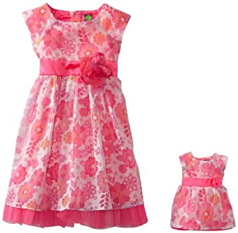 Dollie & Me Little Girls' Floral Capsleeve Special Occasion Dress and Doll Garment, Pink, 5