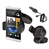 Kwmobile Car mount + charger - E.g. for mounting on the dash board or the windshield - also available with COVER! For Samsung Galaxy S3 i9000 S4 i9500 Note 2 N7100 S3 mini i8190 S2 i9100 i9300 LTE / BlackBerry Z10 / HTC Desire C One M7 S V X XL / Nok