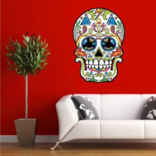 Full Color Wall Decal Mural Sticker Decor Art Beautyfull Cute Sugar Skull Bedroom Curly Modern Fashion (Col603) front-14385