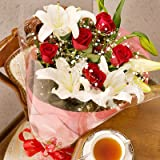 翌日配達お花屋さん 甘くて上品なイメージで仕上げた花束をあの人に♪【送料無料】スイートラブ(赤バラユリ花束) [即日発送]  誕生日・記念日・お祝い・結婚祝い・お見舞い・歓送迎会・結婚祝いお礼の花の配達便!