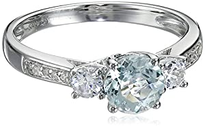 10k White Gold Aquamarine Created White Sapphire and Diamond Ring, Size 7 from Amazon Curated Collection