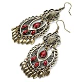 Red & Bronze Teardrop Charm Stone Drop Earrings AJ23763