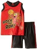Sesame St Baby-Boys Newborn 2 Piece Elmo Rock The Rim Tee and Short Set