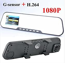 "Car Mirror DVR Video Camera Full HD1080P Rearview Mirror Camera Recorder 2.7"" LCD H.264 G-sensor Original Novatek CPU PK Syntek by Roson"