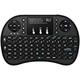 (Updated 2015. With Backlit)Rii i8+ 2.4GHz Mini Mobile Wireless Keyboard with Touchpad Mouse , Backlit LED, Rechargable Li-ion Battery And comfortable Silicone back Cover for for PC,Laptop,Raspberry PI 2, MacOS,Linux, HTPC, IPTV, google Android Smart TV Box ,XBMC,Windows 2000 XP Vista 7 8 10,UK Layout (Black)