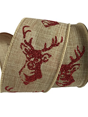 Wired Christmas Ribbon - 2.5 Inches Wide X 25 Feet (Red Glitter Deer)