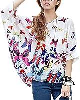 Minetome Femmes Mode bohème hippie Batwing manches en mousseline de soie blouse ample Encolure Fleurs shirt