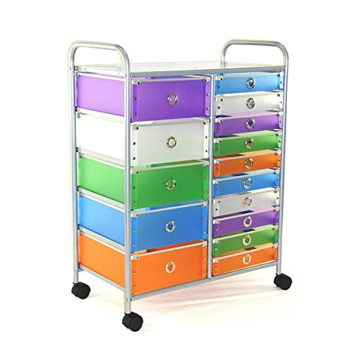 Multicolored Polypropylene/Steel 15-drawer Rolling Storage Cart (Butcher Trays With Lids compare prices)