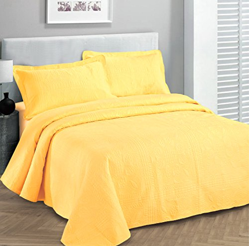 Buy Cheap Fancy Collection 3pc Luxury Bedspread Coverlet Embossed Bed Cover Solid Yellow New Over Si...