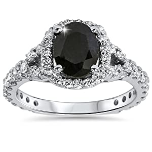 2.25CT Black Sapphire & Diamond Cushion Halo Engagement Ring 14K White Gold