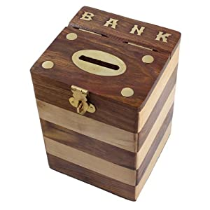 Dual tone square wooden piggy bank money box for Handmade coin bank