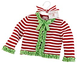 Mud Pie Striped Cardigan Grosgrain Ruffle, Red/White Stripes, 0 6 Months
