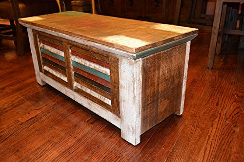 Crafters and Weavers Rustic Distressed Reclaimed Solid Wood Painted Trunk Coffee Table 3