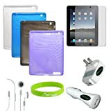 CrazyOnDigital Skin Case Covers with Charger and Screen Protector for Apple iPad 2 (9-item). CrazyOnDigital Retail Package ~ CrazyOnDigital