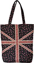 Cotton Fashion Shopper Tote Bag Floral Flag Design Black / Pink