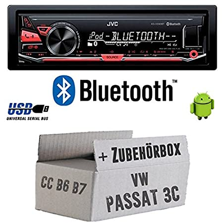 VW Passat 3C CC B6 B7 - JVC KD-X330BT - Bluetooth MP3 USB Autoradio - Einbauset