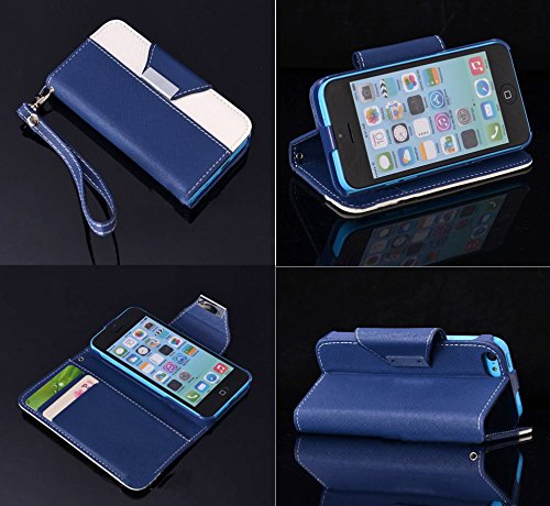 Mylife (Tm) Midnight Blue + Bleached White {Modern Design} Faux Leather (Card, Cash And Id Holder + Magnetic Closing + Hand Strap) Slim Wallet For The Iphone 5C Smartphone By Apple (External Textured Synthetic Leather With Magnetic Clip + Internal Secure