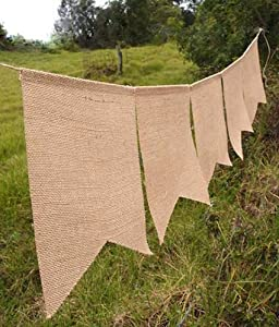 Burlap Banner Rectangle 8 X 10 Inch Flags, 88 Inches Long, Bunting 5pc by Harvest Import