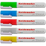 Kreidemarker im 5er-Set von Office Marshal® | fünf leuchtstarke Farben | abwischbar