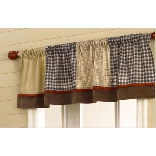 CoCaLo Baby Window Valance - Buttons, Brown Checks and Plaids - 1
