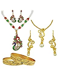 Surat Diamonds Red & Green Enamelled Peacock, Shell Pearl & Gold Plated Fashion Jewellery Set With 4 Bangles For...