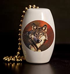 Wolf Portrait Porcelain Fan / Light Pull