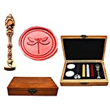 MNYR Dragonfly Luxury Wood Box Red Brass Metal Peacock Wedding Invitations Gift Cards Paper Stationary Envelope Seals Custom Logo Wax Seal Sealing Stamp Wax Sticks Melting Spoon Wood Gift Box Kit (Color: Rose Gold)
