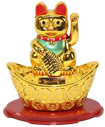 A Gold Beckoning Fortune Cat Japanese Oriental Solar Toy Housewarming Gift Home Decor US Seller