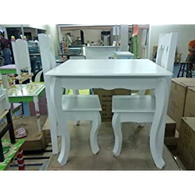 Solid White Table w/ 2 Chairs