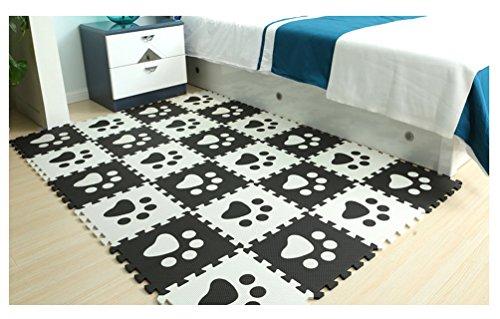 Tianmei Noir et blanc Patte Tapis de Jeux Pop-out / Tapis de jeux et d'éveil / Tapis de chambre d'enfant / Puzzles classiques 10 tapis mousse de sol