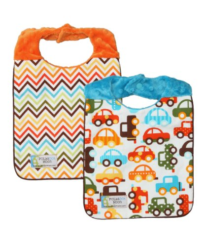 Baby Boy Bib Set of 2 - Reversible - Cars, Trucks & Chevron on Minky