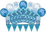 Glitz Azul 16º cumpleaños suministros para fiestas Kit para 8