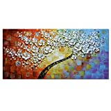 Asdam Art - White Maple Tree Abstract 3D Oil Paintings on Canvas Modern Home Decorations Artwork for Wall Decor (24X48 inch)