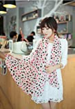 Shop4Clothing365(TM) New Fashion Chiffon Scarf Shawl- Light Pink Background, Colorful Heart-shaped Pattern(SC03-017-01)
