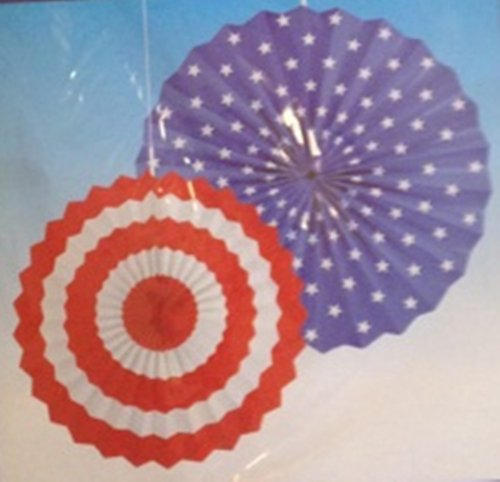 2 Fourth of July Paper Fan Decorations ~ Set of 2 (Red, White & Blue) - 1