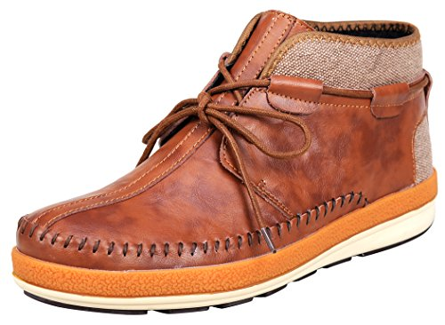 Serene Mens Fashion Canvas Faux Fur Lace Up Chukka Boots(9.5 D(M)US, 3105Brown)