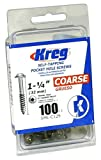 Kreg SML-C125-100 1-1/4-Inch 8-Coarse Washer-Head Pocket Screws, 100-Count