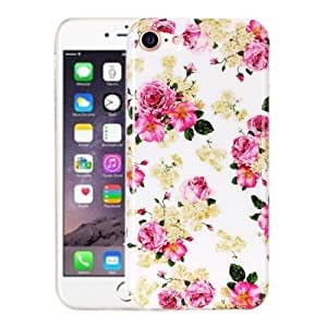 Crazy4Gadget For iPhone 7 Rose Pattern IMD Workmanship Soft TPU Protective Case