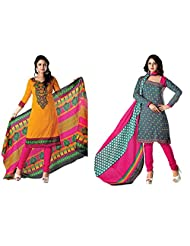 RUDRA FASHION DIWALI SPECIAL COMBO GREY & PINK POLY COTTON SALWAR SUIT UNSTICHED DRESS MATERIAL COMBO PACK WITH...