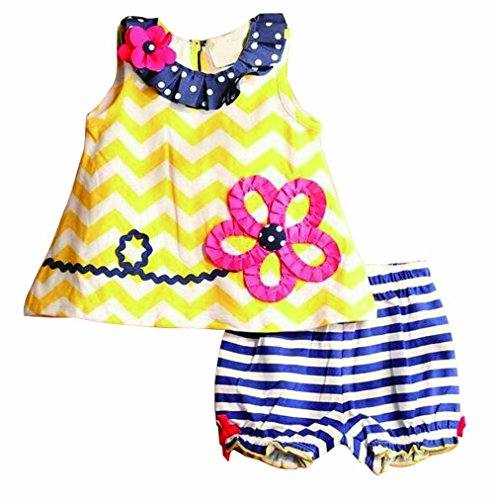 Baby Girls Toddler Kid's Summer Clothes Sleeveless Tops+Pants Set Flower 12-18Months Yellow