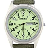 Heads Mens Amry Light Green Color Dial Quartz Nylon Fabric Strap Date Wrist Watch