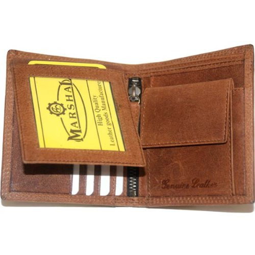 Hunter Leather Bi-fold Mens Wallet Brown#HU1309