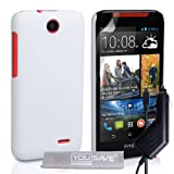 Yousave Accessories Hard Hybrid Cover with Car Charger for HTC Desire 310 - White