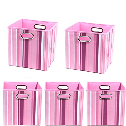 Modern Littles Organization Bundle-5 Storage Bins, Rose Stripes