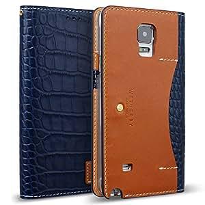 Galaxy Note 4 Case, DesignSkin Wetherby [Premium Croco] - Genuine Cowhide Premium Leather Handcrafted Unique Luxurious Design ID Credit Card Storage Holder Banknote Slot Wallet Case (Navy)
