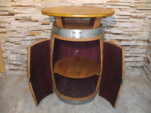 FASSBARTISCH-BORDEAUX-aus-225L-Weinfass-mit-Tischplatte-D80cm-H110-115cm