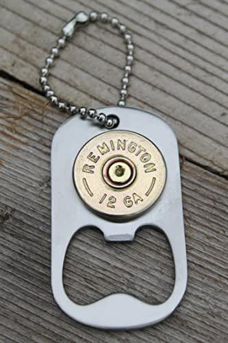 12 gauge polished brass remington shot gun dog tag style keychain bottle opener. Black Bedroom Furniture Sets. Home Design Ideas